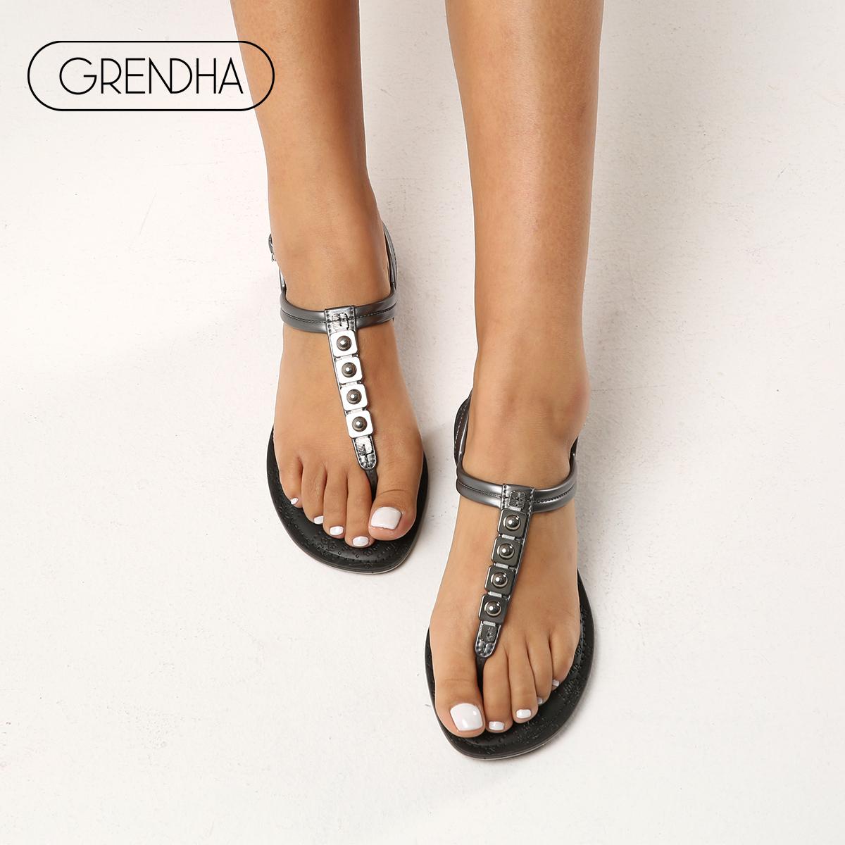 GRENDHA感官不累脚夏季夹脚罗马平底凉拖 简约通勤夹趾凉鞋女偏小