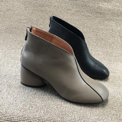 断码处理真皮女鞋2018冬款时尚纯色优雅高跟后拉链气质女短靴裸靴