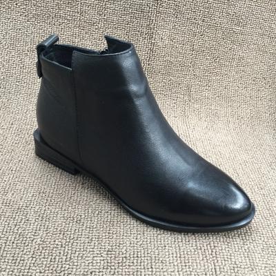 断码处理真皮女鞋2018秋冬款时尚尖头平跟加绒保暖及踝靴女短靴