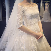 Wedding dress new 2019 Korean version of the word shoulder long sleeves trailing lace Slim large size was thin Qi wedding dress winter