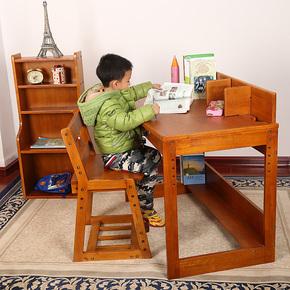 儿童学习桌椅套装 可升降 学生书桌电脑方桌椅实木多功能书柜家用