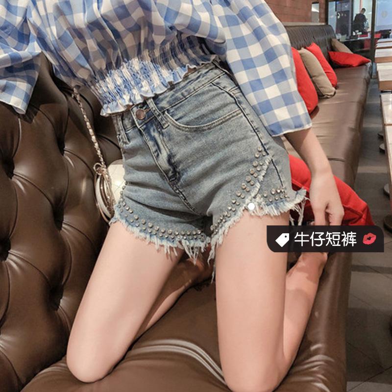 韩版牛仔短裤重工手工镶钻性感开叉百搭显瘦高腰热裤女2019夏装