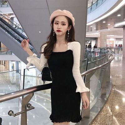 连衣裙2018秋季新款韩版淑女气质修身荷叶边拼色针织长袖显瘦包臀
