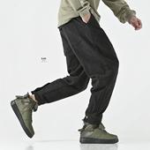 BJHG欧美简约基础款呢料松紧腰抽绳弹力系扣萝卜休闲哈伦束脚卫裤