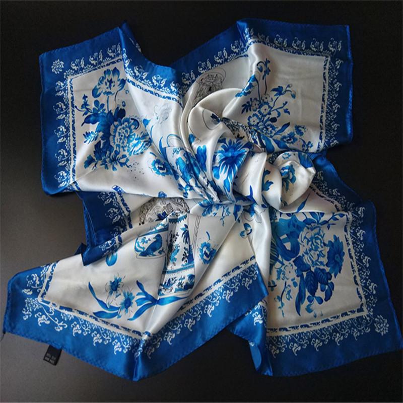 青花瓷 中国风真丝丝巾100%桑蚕丝方巾精装丝巾外事出国商务礼品