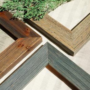 定制实木复古榆木风中式大画框相框乡村法式做旧框拼图框镜框定做