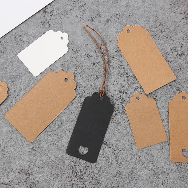 牛皮纸方形花头吊牌 烘焙挂牌空白唛头标示卡产品卡名片100个