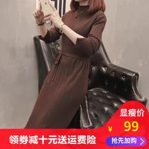 洋气肉卷大码女装春秋胖mm新款包臀针织连衣裙收腰长裙200斤显瘦.