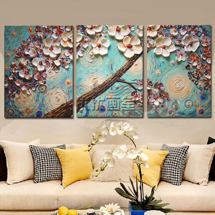 油画客厅手绘三联