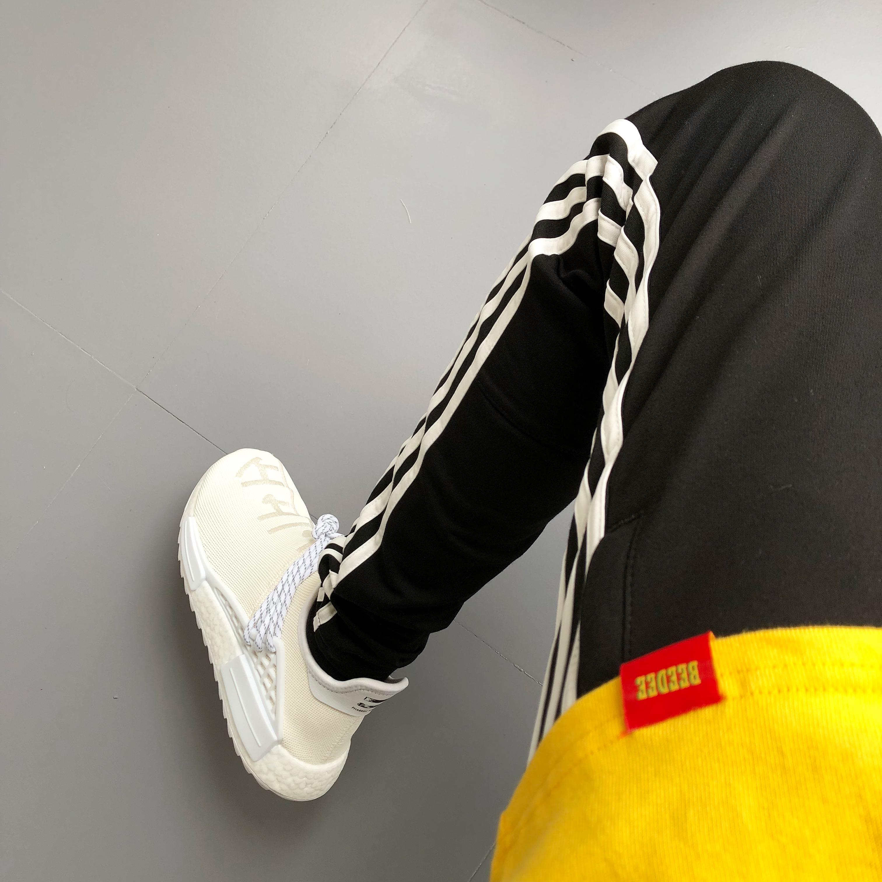 条纹修身运动裤