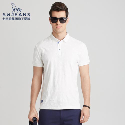 SWJEANS 夏季新款纯棉刺绣体恤商务男装半袖潮牌男士短袖polo衫潮