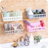 免打孔浴室置物架卫生间吸壁式收纳架E285厕所墙壁壁挂塑料架子