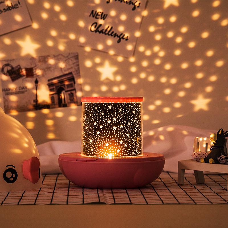 抖音浪漫旋转星空投影灯满天星房间卧室星光夜灯仪发光儿童玩具