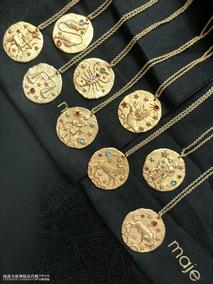 欧洲时尚潮牌 MAJE 精美黄铜浮雕梦幻巴洛克彩色水钻十二星座项链