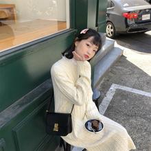陆小团团 2018新款韩版套头甜美显瘦麻花中长款毛衣连衣裙女学生
