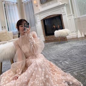 「卢洁云」CARIEDO 2018新款很仙的连衣裙长裙秋冬网纱气质连衣裙