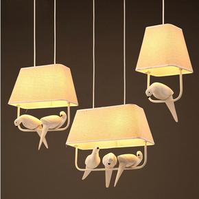美式乡村小鸟布艺吊灯个性田园创意饭厅餐厅卧室客厅北欧布罩吊灯