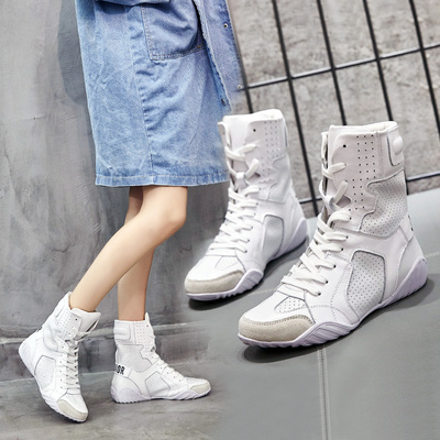 春秋韩版运动平底中筒靴字母系带潮流女靴欧美时尚百搭骑士靴短靴