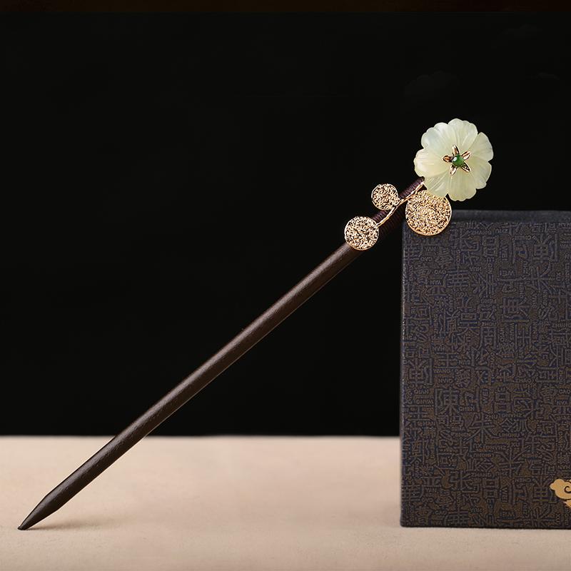 中国风珠钗古典盘发步摇饰品发.