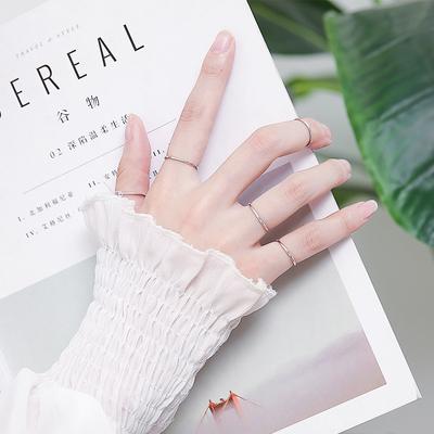 纯银戒指女网红关节尾戒极细款简约时尚小指个性食指素圈小众设计