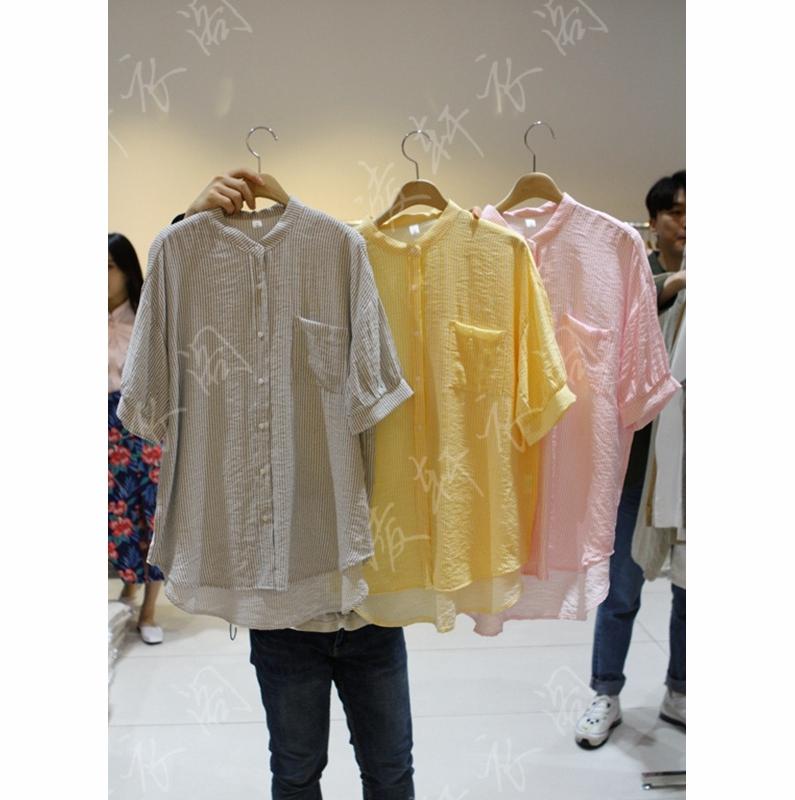 韩国东大门代购2018新款女装女士短袖贴袋系扣衬衫均码