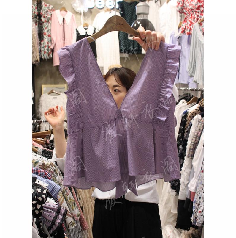 韩国东大门代购2018新款女装女士无袖荷叶边百搭上衣均码