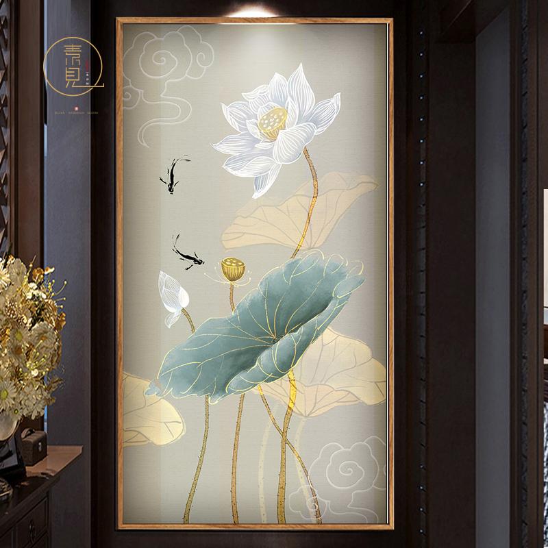 中式画客厅画荷花画