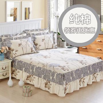 夹棉加厚纯棉床裙单件床单床套全棉床裙式床罩1.8m1.5米2.0m床