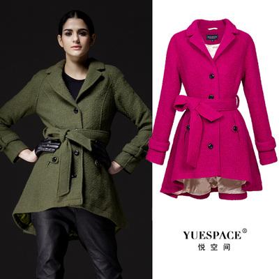 悦空间短款羊毛呢子女式外套欧美修身系带翻领收腰时尚秋冬装上衣
