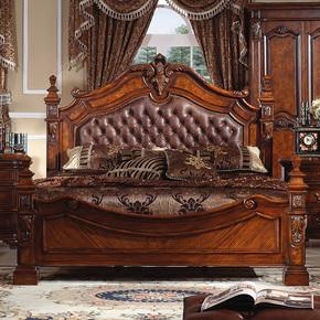 美式床 实木大床真皮床双人床1.8米别墅大床雕花婚床欧式真皮大床