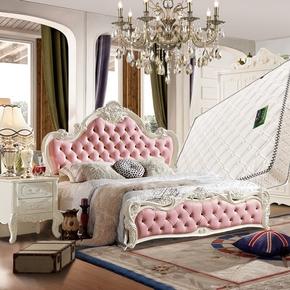 欧式双人床 婚床 欧式床三件套床组合 卧室家具 套装组合欧式套装