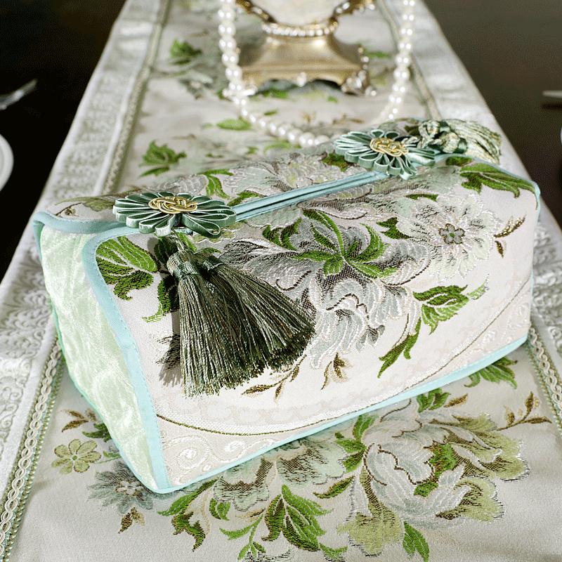 家居欧式纸巾盒抽纸盒可爱餐巾盒套车用创意布艺金色纸巾盒纸巾套