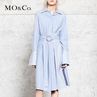 MOCO新款长袖收腰显瘦条纹连衣裙MA173DRS109   摩安珂