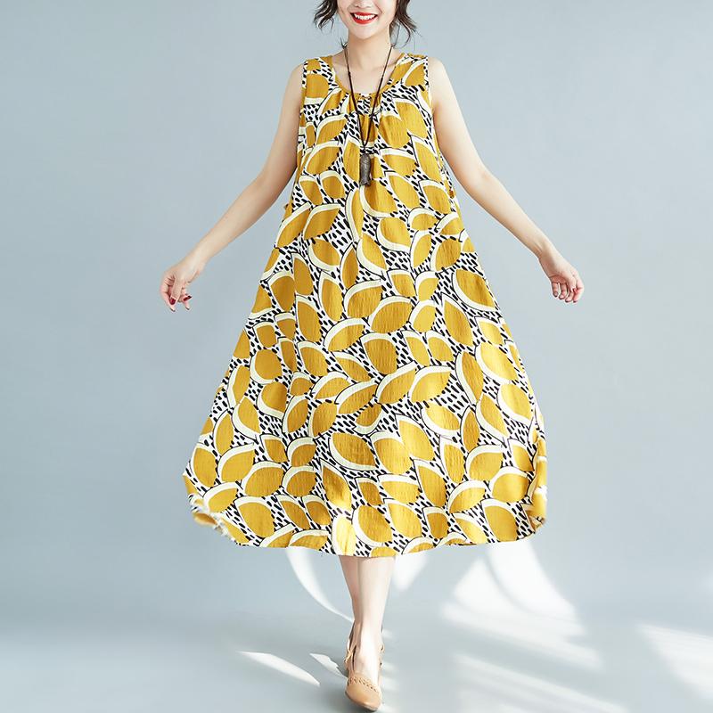 夏装新款复古宽松背心裙民族风大码亚棉麻吊带打底碎花无袖连衣裙