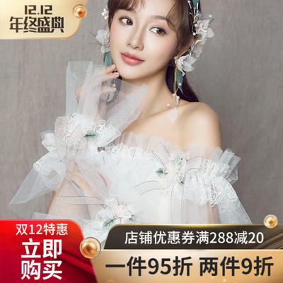 水舞新娘蕾丝花朵结婚披肩韩式甜美2018年新款婚纱肩纱配件 P0147