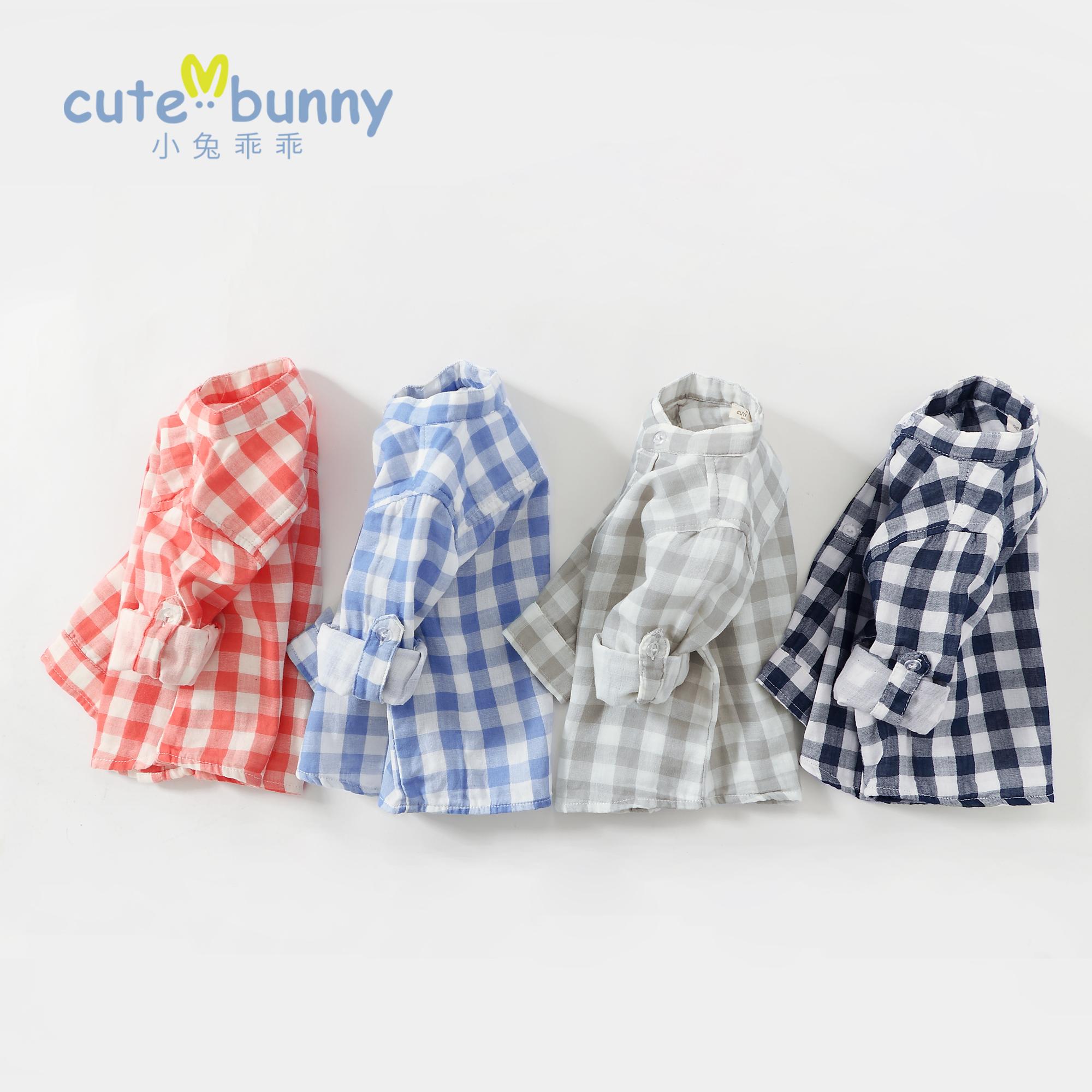 童格子衬衫纯棉立领