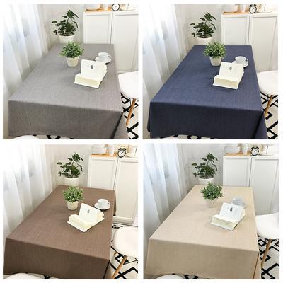 防水棉麻餐桌布艺茶几纯色亚麻咖啡餐厅餐垫长方圆形台布定制防烫价格