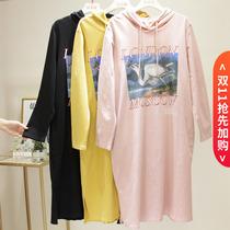 加肥加大码女装秋冬装200斤胖mm新款25-30岁T恤中长款卫衣连衣裙