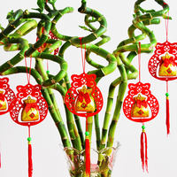 Chinese New Year Lantern Bonsai Ornaments Indoor Outdoor Plant Decoration Pendant Festive New Year Scene Arrangement Pendant