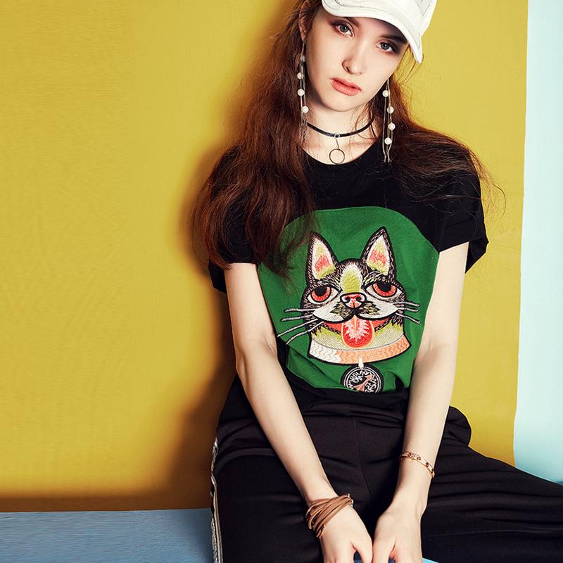 C美汇舍欧洲站2018春夏新款时尚动物图案贴布圆领短袖宽松女装t恤