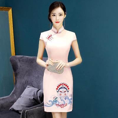 少女中国风京剧图案时尚优雅改良日常短款旗袍连衣裙演出走秀礼服