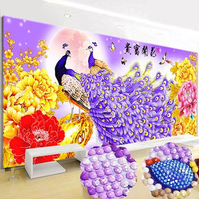 孔雀牡丹十字绣客厅简约现代