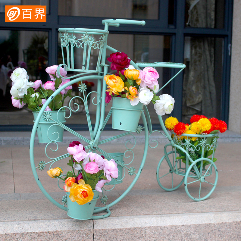 百界 创意欧式装饰自行车花架铁艺多层 落地式花架子拍照橱窗道具