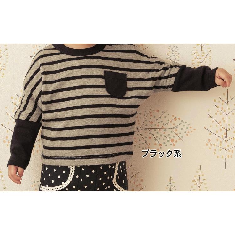 现货包邮正品 日本千趣会纯棉婴儿长袖T恤 女宝宝秋装条纹蝙蝠袖