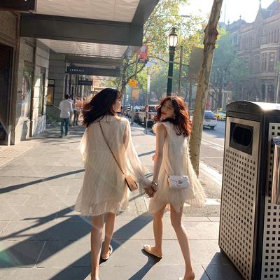 夏2019新款女闺蜜装很仙的裙子 法式娃娃领夏季雪纺连衣裙女春秋
