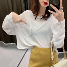 百搭薄款 休闲白色T恤女潮 防晒衫 显瘦上衣女2019新款 宽松长袖 韩版图片