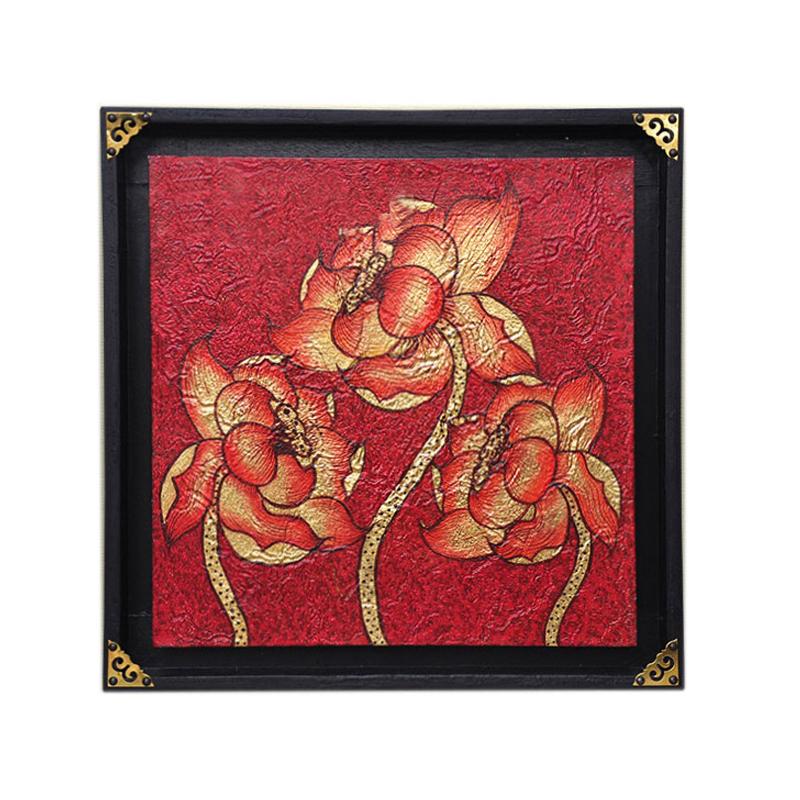 异丽客厅玄关泰式装饰画东南亚风格沙发背景墙挂画有框荷花金箔画