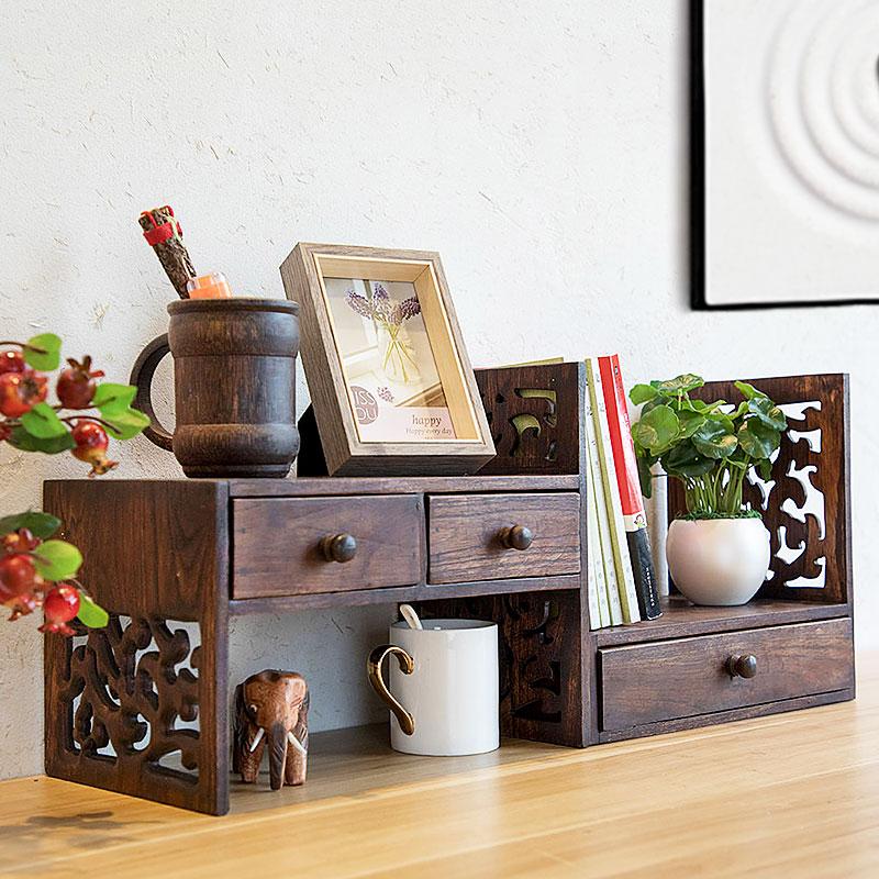 书桌 置物架 实木