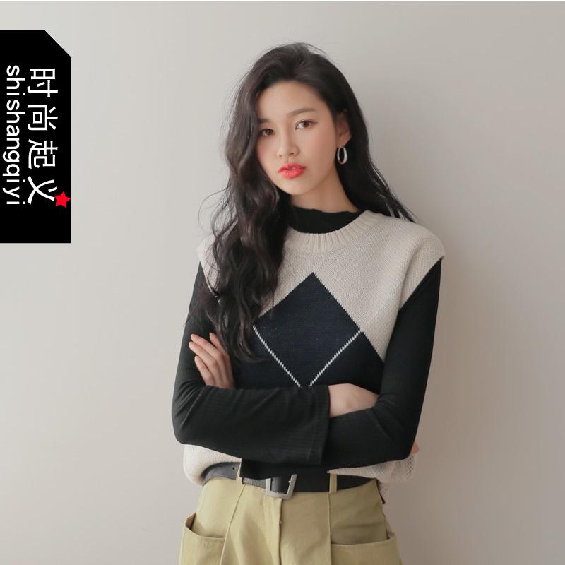 韩国代购正品大菱格马甲时尚起义2018春装新款针织马甲女722205