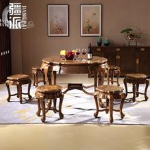 红木家具餐台鸡翅木切角餐桌实木中式仿古红木餐桌椅组合客厅圆桌